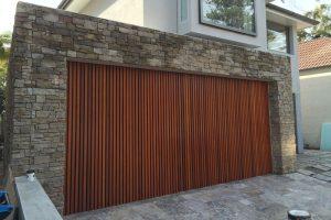 Timber garage door installation